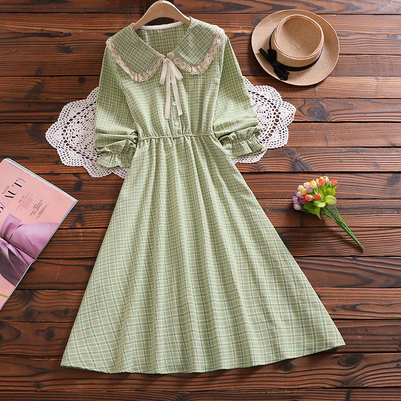 Mori girl elegant midi vestidos new autumn fashion peter pan collar long sleeve women plaid dress