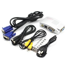 Wholesale PC Laptop Composite Video TV RCA Composite S-Video AV In To PC VGA LCD Out Converter Adapter Switch Box