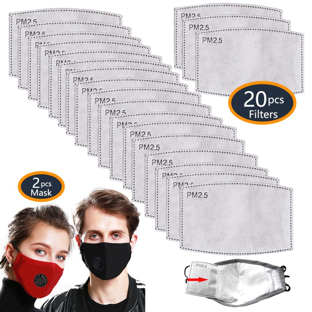 2 Masks 20 PCS Filters Cotton PM2.5 Activated Carbon Mask Washable Reusable Three-Proof Face Mask Dust Masks Anti Pollution