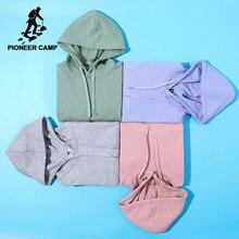 Мужская однотонная Толстовка Pioneer Camp, хлопковая однотонная толстовка с капюшоном, брендовая одежда, AWY908048