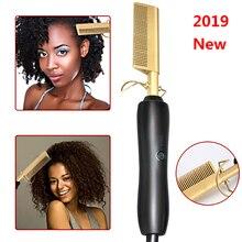 Горячая Расческа для влажных и сухих волос, щипцы для завивки волос, выпрямитель, расческа, электрическая, Экологически чистая, титановый сплав, щипцы для завивки волос