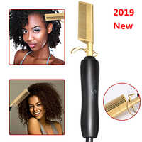 Hot Comb Wet and Dry Hair Use Hair Curling Iron Straightener Comb Electric Environmentally Friendly Titanium Alloy Hair Curler