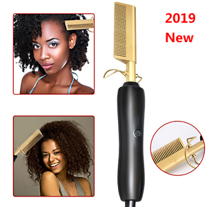 Hot Comb Wet and Dry Hair Use Hair Curling Iron Straightener Comb Electric Environmentally Friendly Titanium Alloy Hair Curler(China)