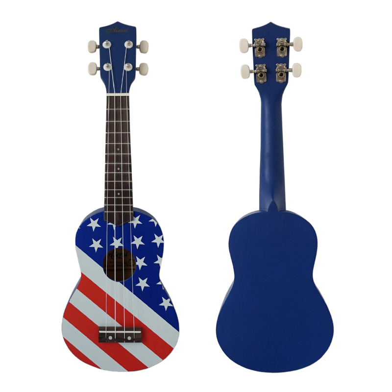 National Flag Decal Pattern Soprano 21 Inch Beginner Wholesale Price Ukulele