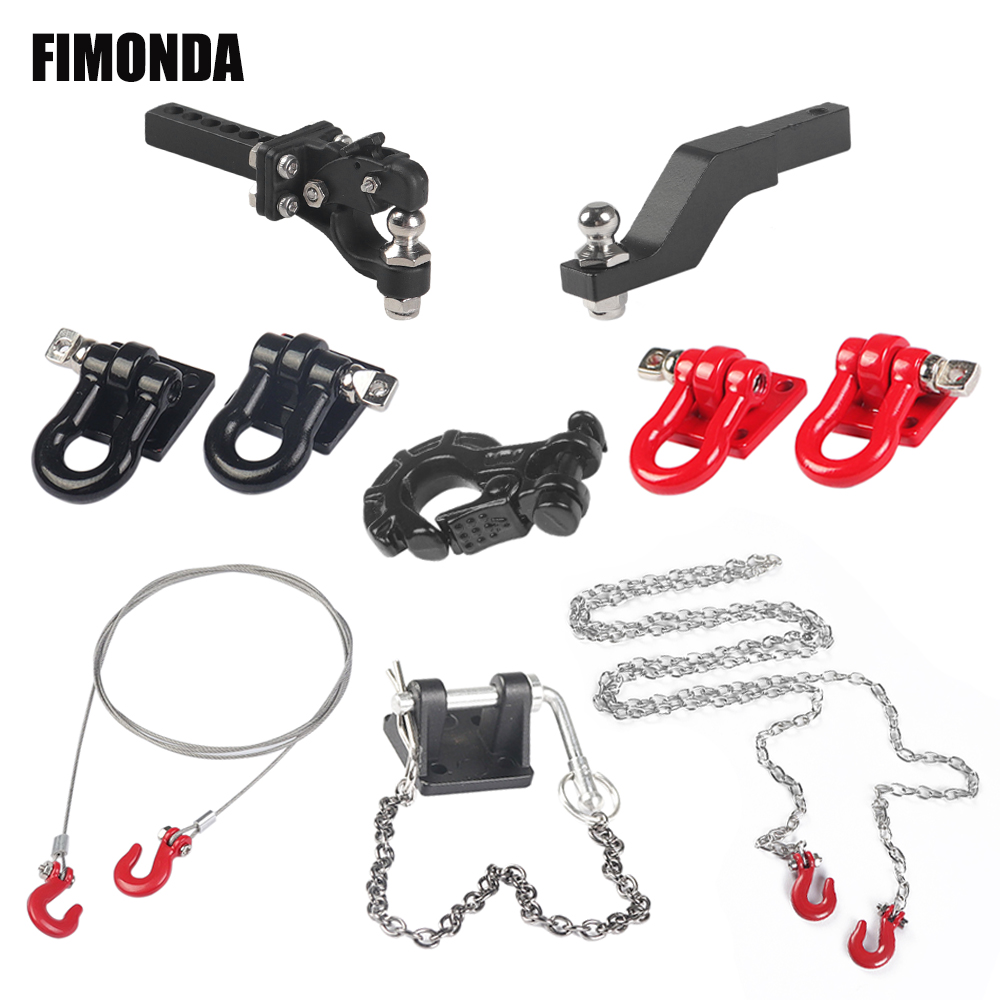 1/10 Scale Accessories Metal Tow Hook Trailer Rope Chain Trailer shackle for RC Crawler Car Axial SCX10 Traxxas TRX4 Tamiya CC01(China)