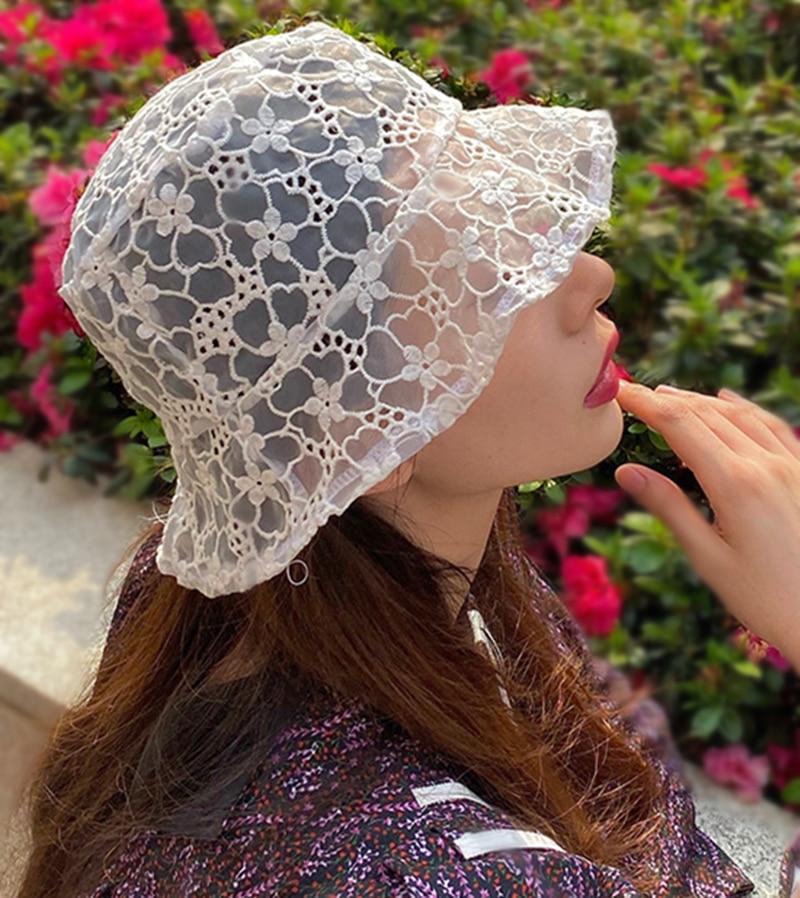 2020 Simple Korea LACE Hat For WOMEN Soft Lace Flower Wide Brim Sun Hats Floppy Summer Hat Dress Lace Ladies Hat