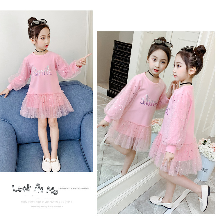 Boutique Kid Clothing 2020 Spring Little Girls School Dress Cotton O neck Sweater Dress Pink Long Sleeve Letter Dresses for Teen (8)