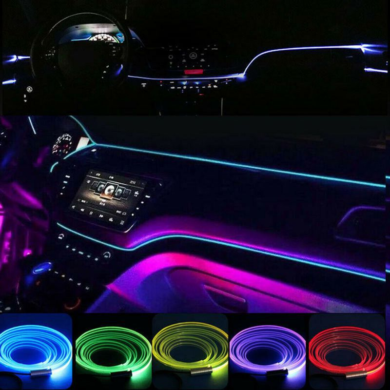 Car RGB Fiber Optic Atmosphere Lamps Car Interior Ambient Light Decorative Dashboard Door Remote Control Or App Control