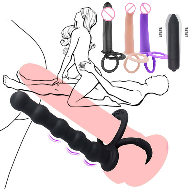 Vibrators For Women Double Penetration Strapon Dildo Vibrator Anal Butt Plug Beads Strap On Dildos B