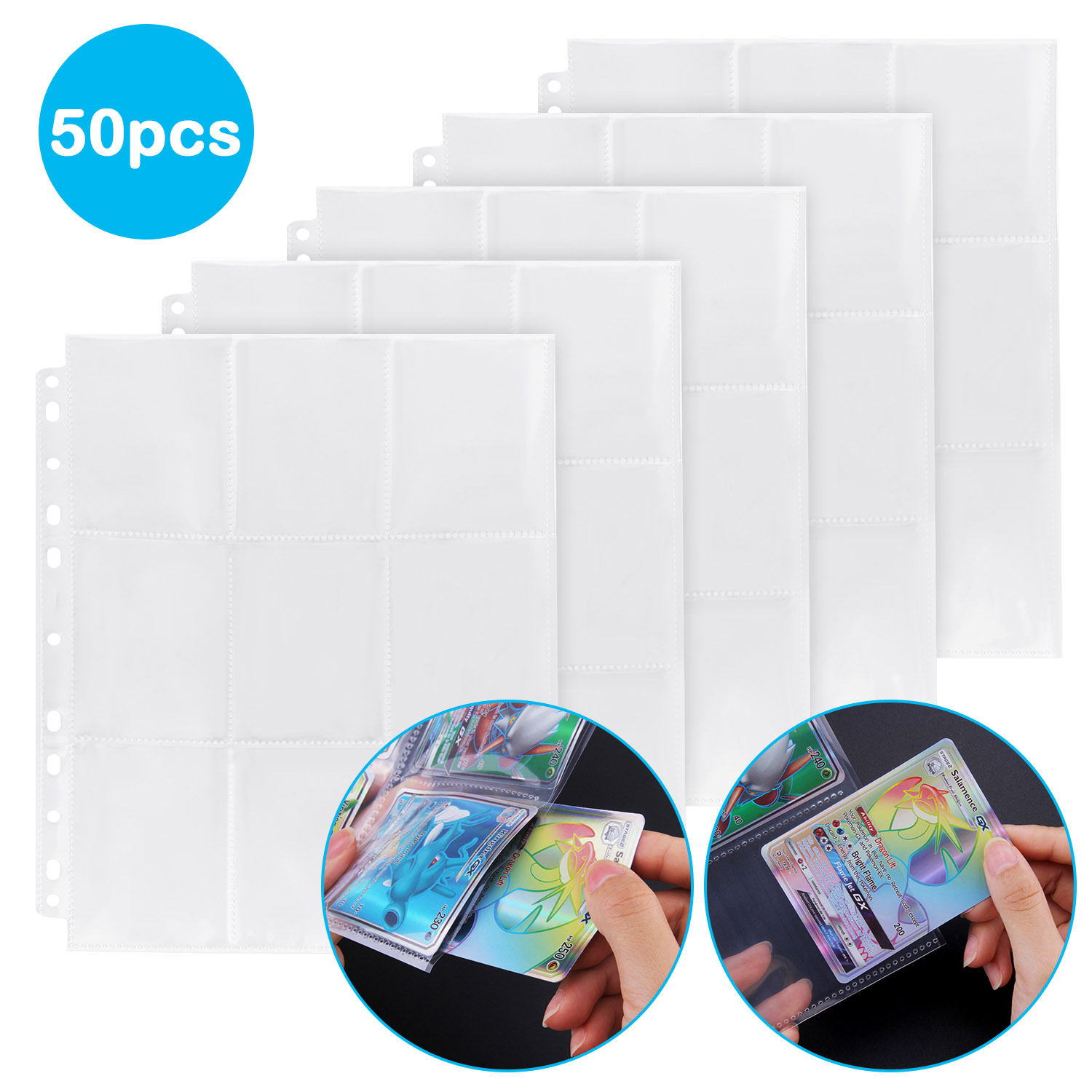 9 Pocket Pages Protectors Trading Card Coupon Sleeves 11 Ring Binder Sheets For Sport Game Cards 50 Pages