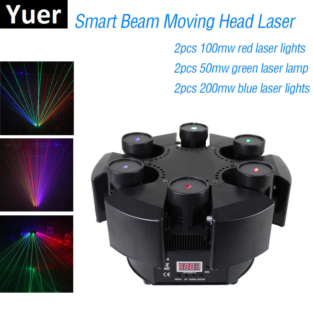 2019 New Smart 6 Heads Moving Head Beam Laser Light RGB Floral Color Laser Light Projector Unlimited Rotating Disco Laser Light