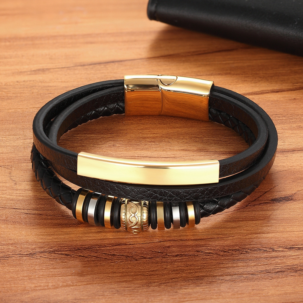2020 Promotion Multi-layer Leather Stainless Steel Metal Luxury Men's Leather Bracelet Accessories For New Year's Gift 2