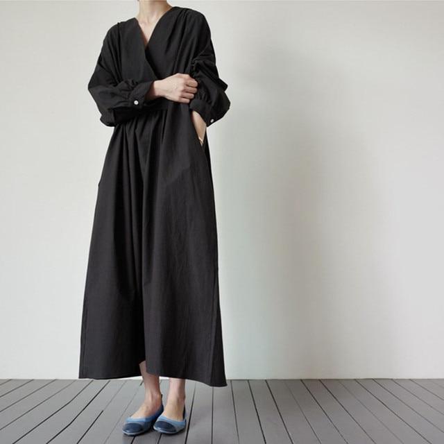 Johnature 2021 Autumn New Korean V-neck Full Sleeve Plus Size Solid Color Dresses Women Casual Loose Pockets Female Dress 5