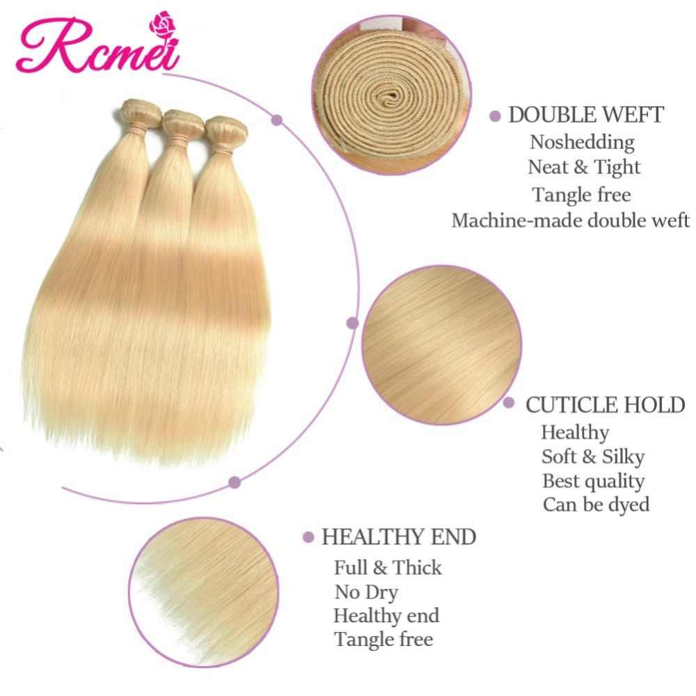 Mechón de cabello 613 rubio miel 1/3/4 brasileño, cabello liso 100% Remy, trama de cabello humano 26 28 30 32 pulgadas, envío gratis, Rcmei