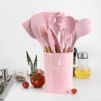 11Pcs Silicone Kitchen Gadget Set Non stick Spatula/ Spoon/ Brush/ Scraper/Strainer/Food Clip Kitchen Tools Cookware Bake Gadget