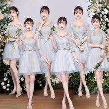 新しいエレガントチュールプラスサイズのレースの花グレーピンク淡モーブ花嫁介添人ドレス、結婚式のゲストドレス、夏のパーティードレス