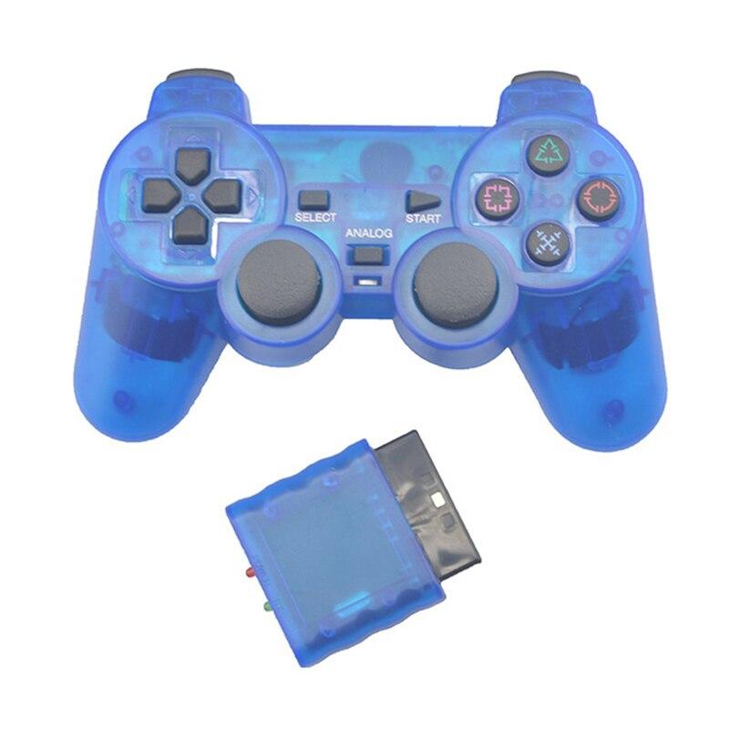 Прозрачный цветной беспроводной геймпад для Sony PS2 2,4G Вибрационный джойстик Bluetooth контроллер для Playstation 2 Joypad