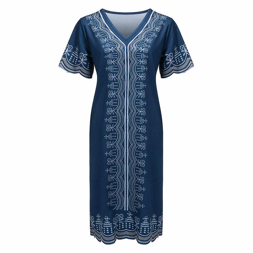 Elbise kadın vestidos cadılar bayramı 2019 3xl ropa mujer robe femme shein yaz v yaka Patchwork kısa kollu ince artı boyutu elbise z4