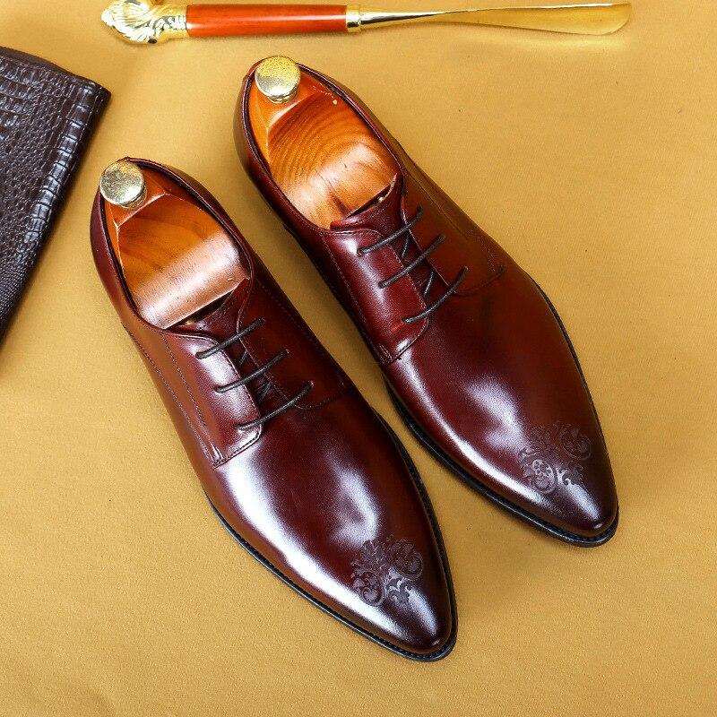 Mens Formal Shoes Genuine Leather Oxford Shoes For Men Dressing Wedding Men