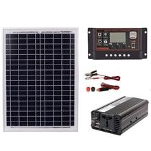 18V20W Solar Panel +12V / 24V Controller + 1500W Inverter Ac220V Kit, Suitable For Outdoor And -Home Energy-Saving