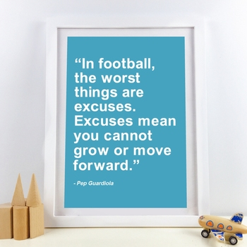 Pep Guardiola Football Quote Canvas Painting Wall Art Print Boys Room Decoration Excuse Can't Grow Up Letter Modular Poster image