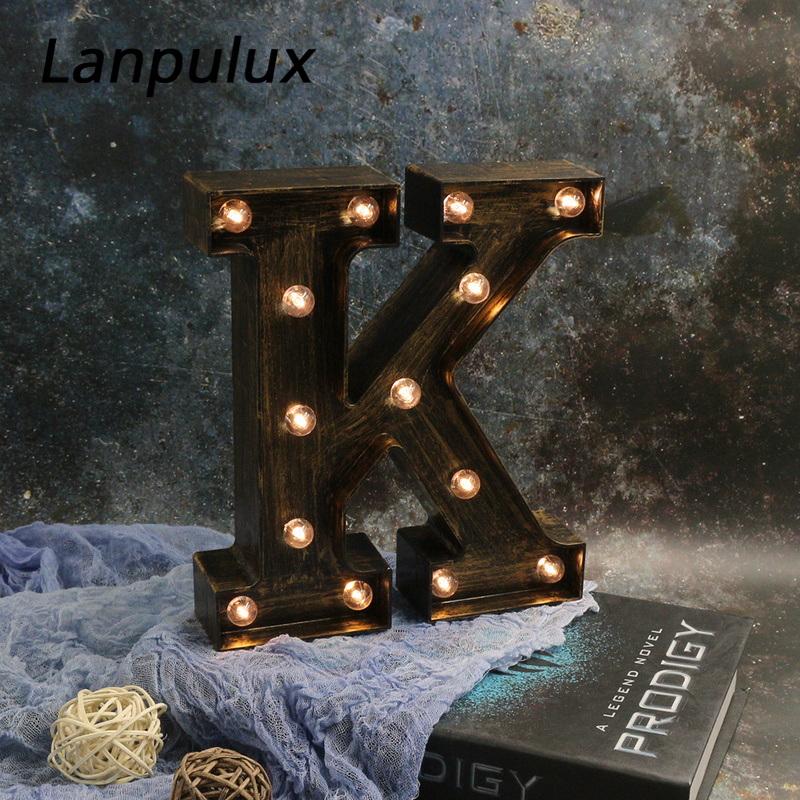 Lanpulux 3D Alphabet Letter LED Night Light Retro Industrial Style Bar Coffee Decor Lighting Fixtures Wall Hanging Letters Lamps