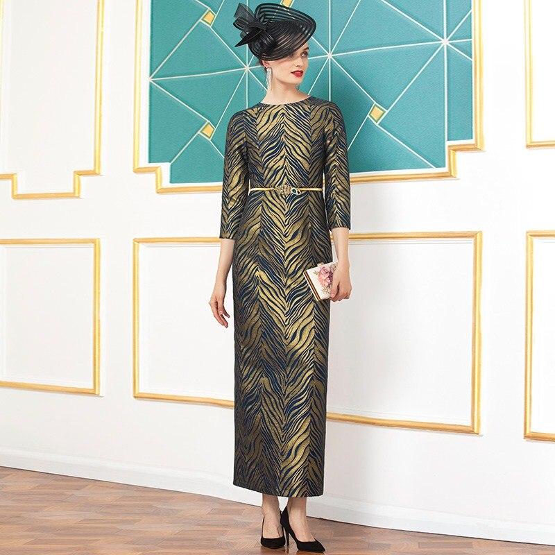 Одежда размера плюс 2020 весенние Стильные женские вечерние длинные вечерние платья с круглым вырезом и золотыми полосками до щиколотки 2XL 3XL - 2