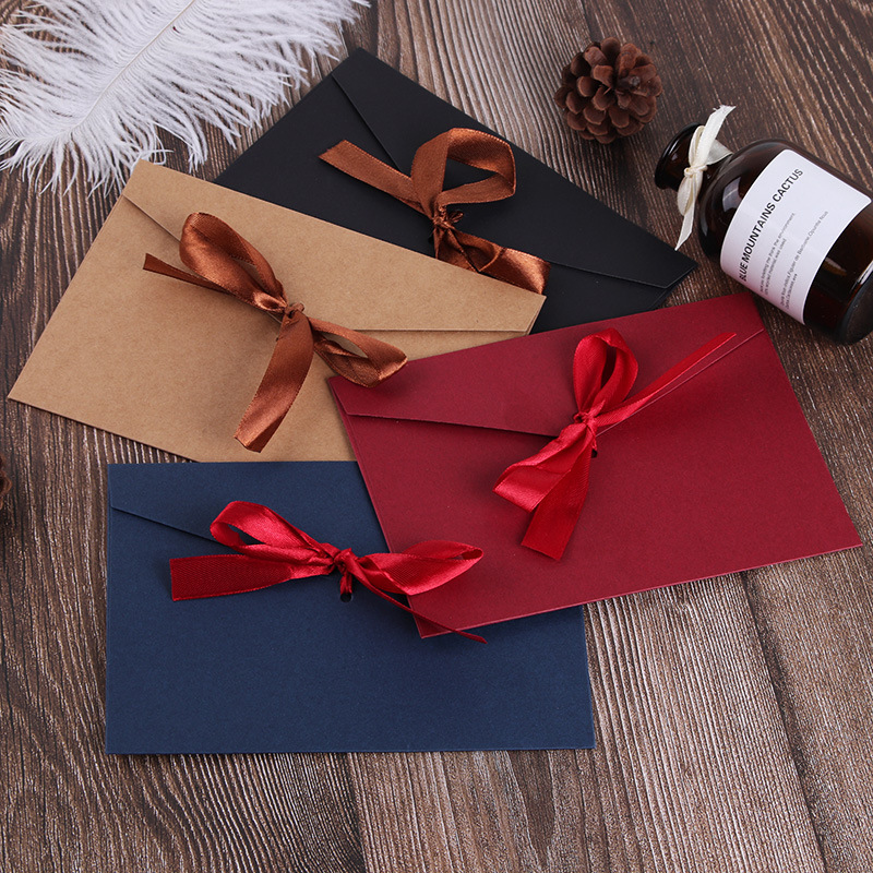 Coloffice Vintage Envelope Creative Color Thickening Large Bow Pearlescent Paper Envelope Big Envelope Wedding Invitation 1Piece