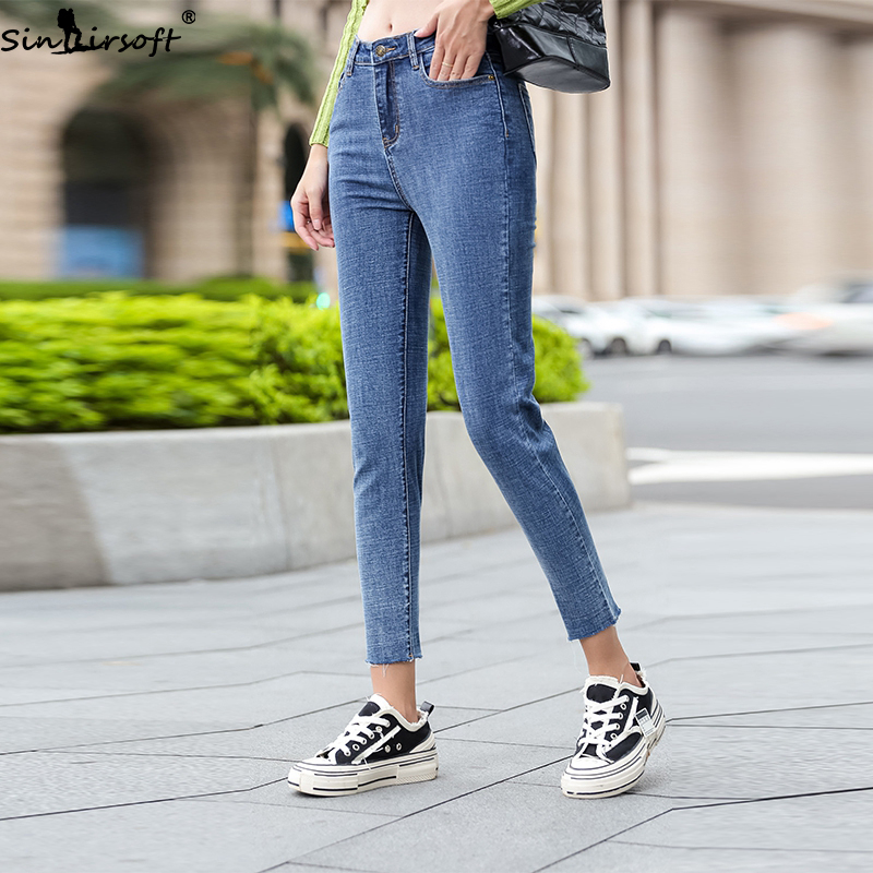 2019 Autumn And Winter New High Waist Zipper Jeans Woman Fashion Trend Slim Thin Multi pocket Hole Straight Denim Pants Women in Jeans from Women 39 s Clothing