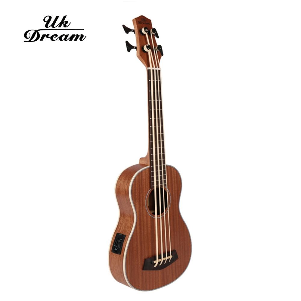 30 Inch Mini Electrica Guitar Musical Instruments Full Sapele Retro Closed Knob Ukulele 4 Strings Bass Guitar Guitarra UB-113