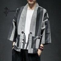 Kimono Cardigan Men Yukata Fashion Cotton Kimono Casual Shirt Jacket Linen Fabric Coat Japanese Kimono Traditional Asian Clothes
