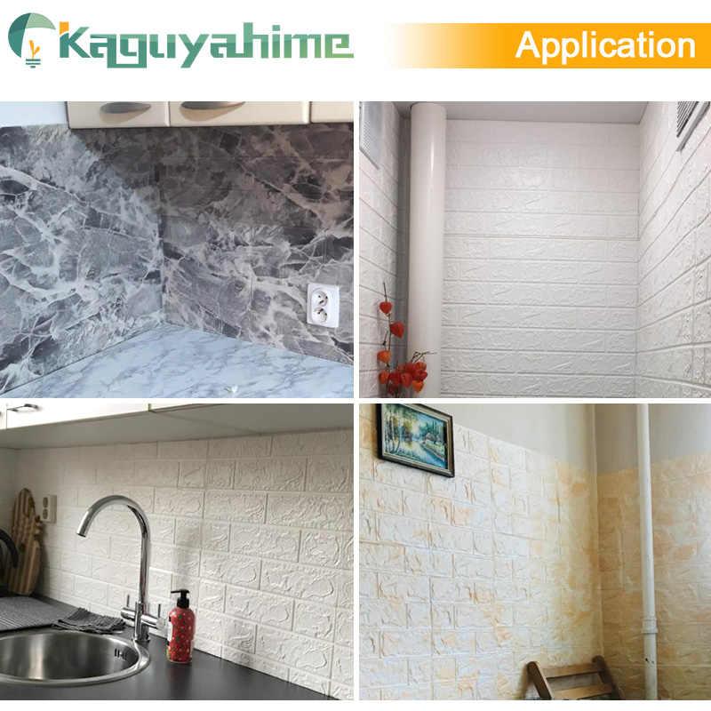 Kaguyahime 8Pcs 3D קיר מדבקות עמיד למים עצמי דבק טפט עיצוב בית מדבקת חיקוי בריק טפט לסלון