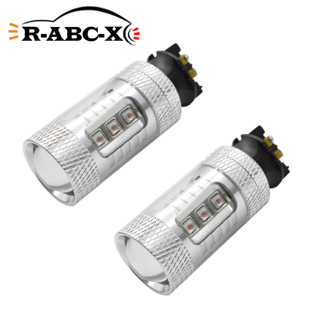 2PCS Canbus Error Free PW24W <font><b>PWY24W</b></font> LED Bulbs For Audi BMW Turn Signal Lamps or Daytime Running Lights White Amber image