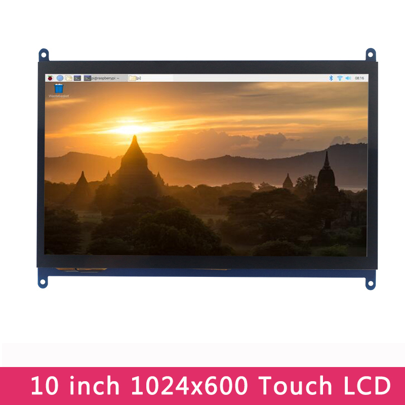 10 Inch Raspberry Pi 4 Model B Touch Screen 1024x600 LCD Display Compatible Raspberry Pi 3 Model B+/3B/4B For PC Jetson Nano