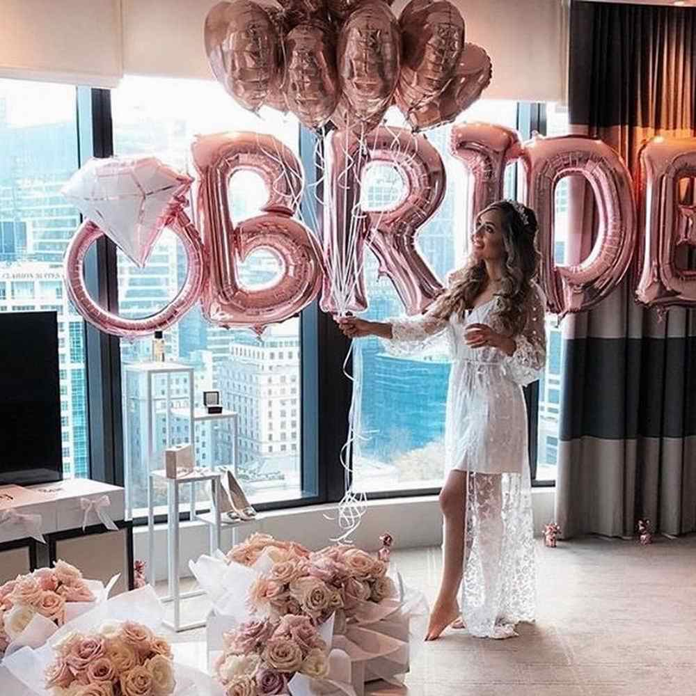 Rose Gold Bride TO BE ฟอยล์บอลลูนงานแต่งงานเจ้าสาวหมั้น Hen PARTY Decor Bachelorette PARTY Supplies