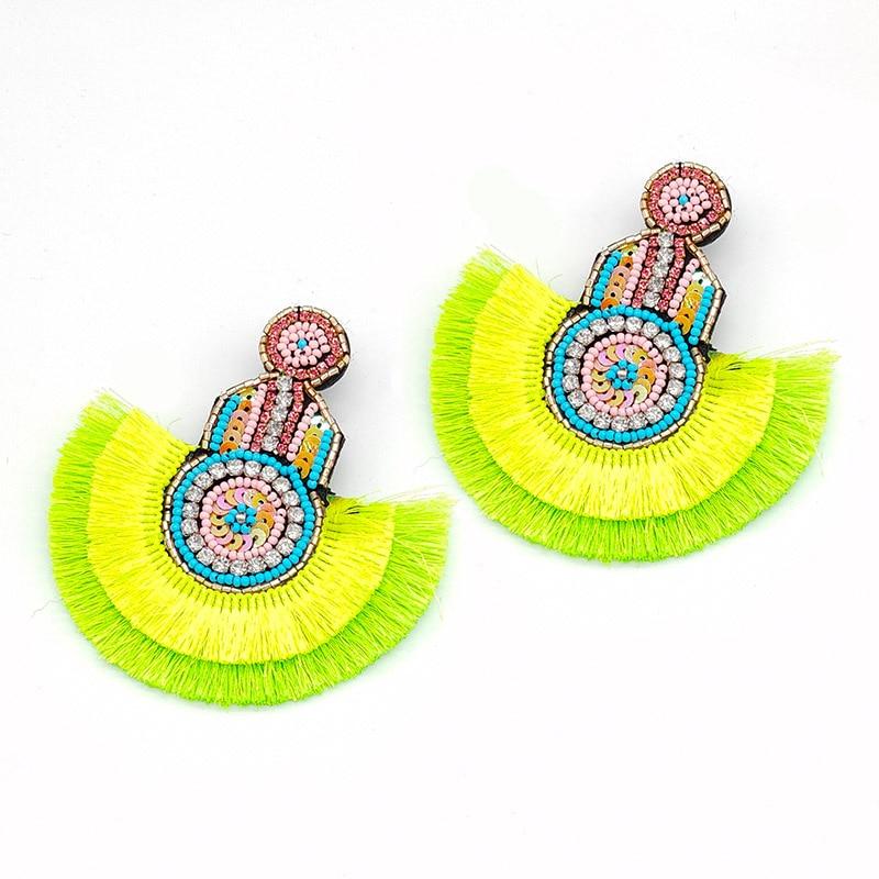 Sehuoran Statement Earrings Tassel Boho Ethnic 2019 Hot Colorful Dangle Drop Earrings Beads INS Trendy Wedding Jewelry