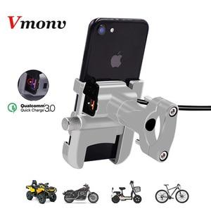 Image 1 - Vmonv Rorating אופנוע כידון טלפון מחזיק USB מהיר מטען 3.0 אופניים אחורית Stand עבור 4 6.5 אינץ טלפון נייד הר