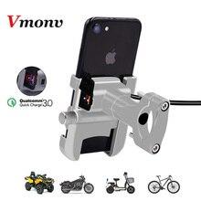 Vmonv rorating motocicleta guiador titular do telefone usb carregador rápido 3.0 bicicleta retrovisor suporte para 4 6.5 polegada montagem do telefone móvel