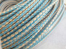 free ship ! High quality 50 meters 3MM Hot Blue Braided Real Leather Jewelry Cord(China)