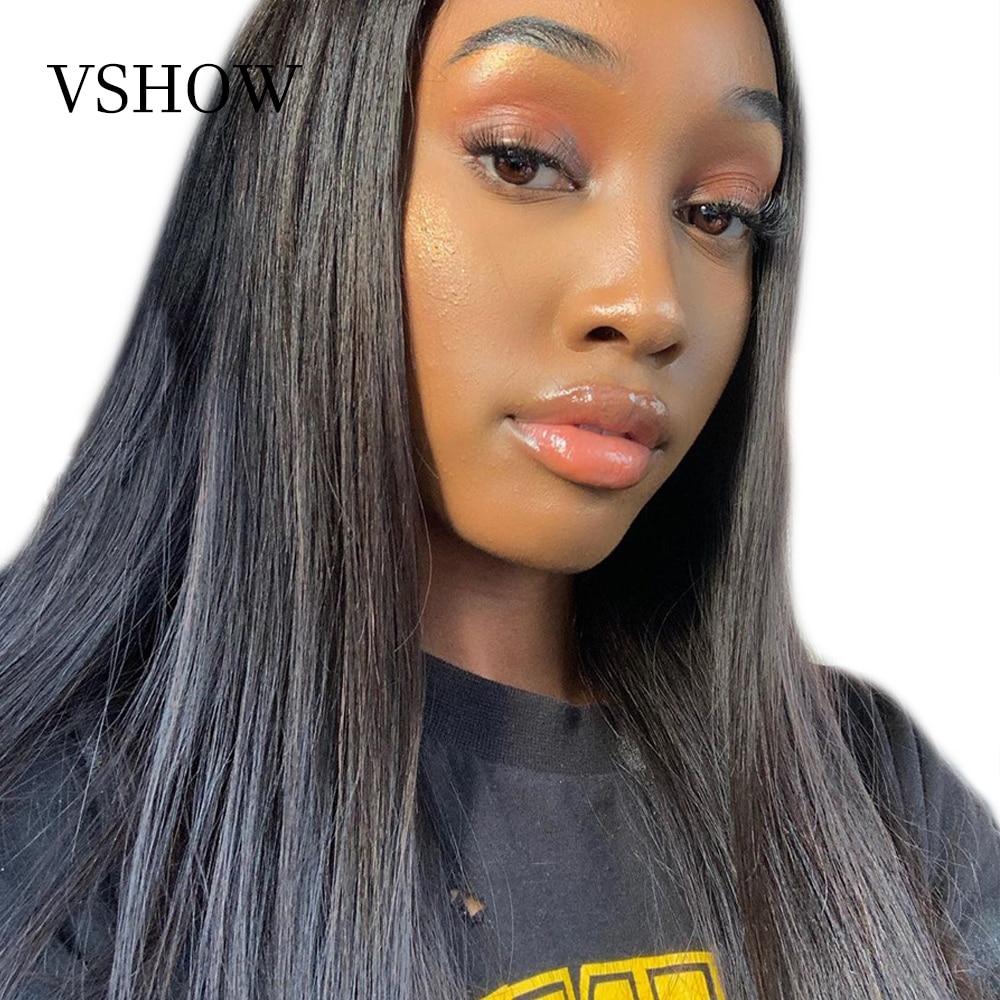 VSHOW 13x4 Malaio Rendas Frente Em Linha Reta Perucas Do Cabelo de Remy 130% Densidade 150% 13x6 Dianteira Do Laço Humano perucas de cabelo Com Cabelo Do Bebê