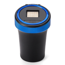 High temperature resistance Car Ashtray with Blue LED Light Solar Charging Business Car Ashtray for Men