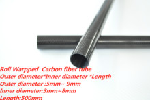 2pcs 3k Carbon Fiber Tube OD 5mm 6mm 7mm 8mm 9mm x500mm  (Roll Wrapped)  High Strength   and  High  Corrosion Resistance 3k carbon fiber tube length 500mm od5mm 6mm 7mm 8mm 9mm roll wrapped light weight high strength for quadcopter accessories