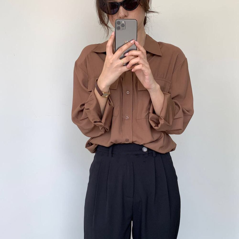 REALEFT Autumn 2020 New Solid White Women's Blouse Pockets Shirt Tops Long Sleeve Turn-down Collar Korean Style Loose Blouses 10