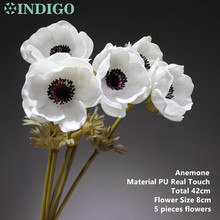 INDIGO- 5pcs White Anemone Flower Home Decoration Pasqueflower Wedding Artificial Floral Event Party Free Shipping