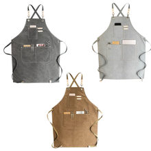 Canvas Kok Schort Barista Barman Chef Kappers Schort Catering Uniform Werkkleding Anti-Vuile Overalls(China)