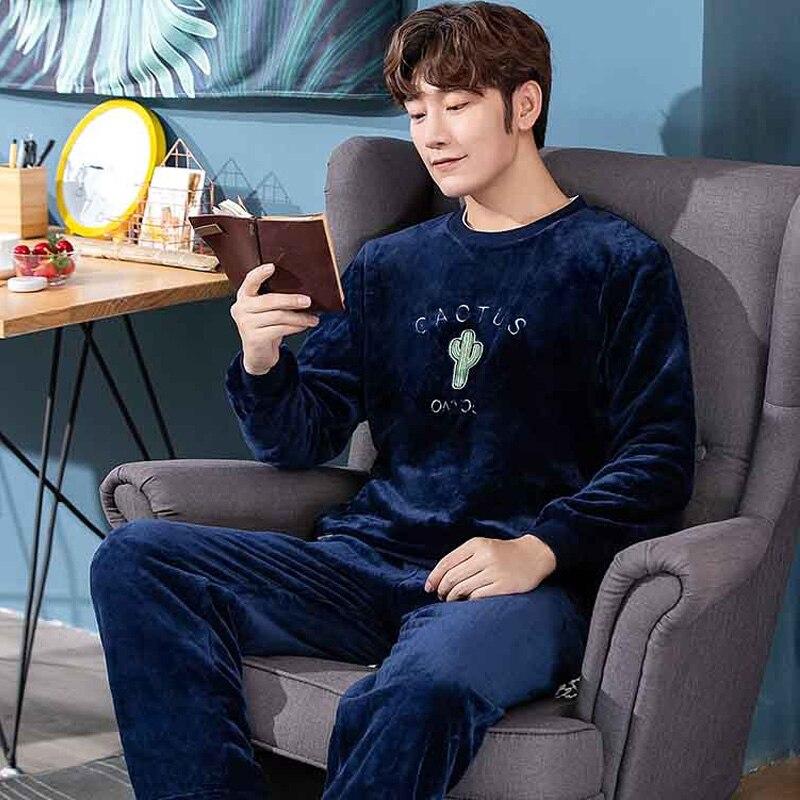 2019 Autumn Pajamas Set Men's Clothing Coral Fleece Pyjamas Winter Flannel Thicken Warm Sleepwear Casual Homewear Plus Size XXXL