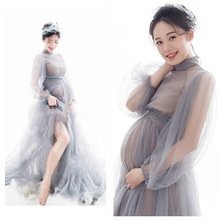 Sexy Long Maternity Photography Props Dresses Tulle Perspective Pregnancy Dress Mesh Maxi Gown For Pregnant Women Photo Shooting