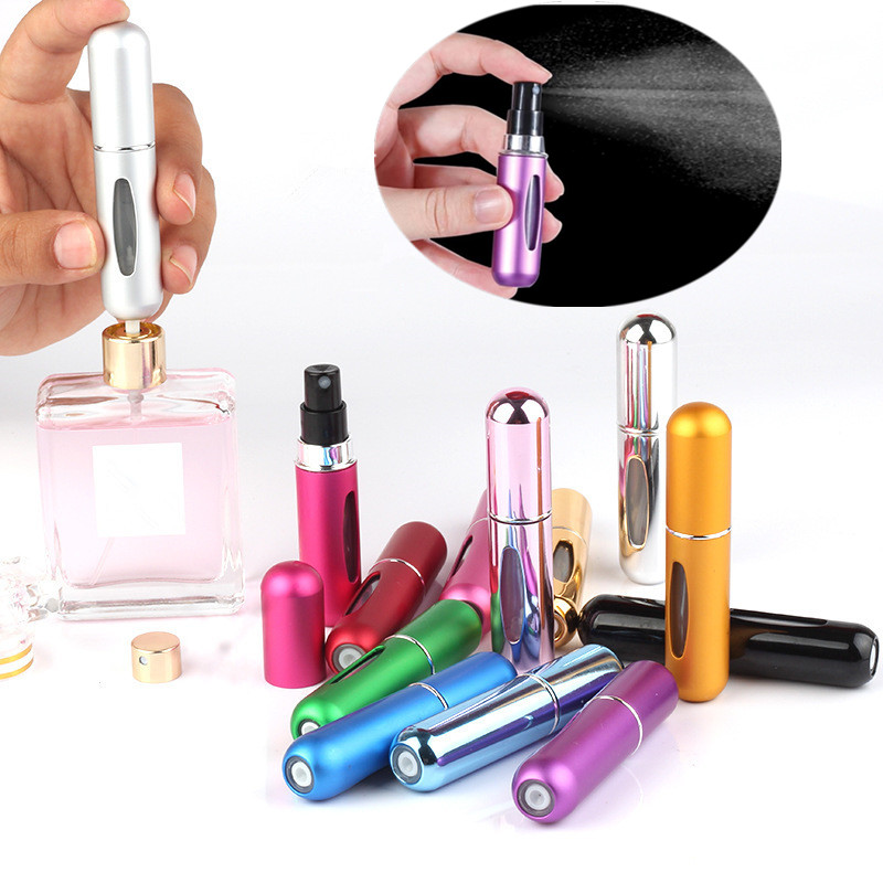 5ML Refillable Perfume Atomizer Travel Portable Makeup Jars Scent Pump Spray Cosmetic Containers For Outdoor Hiking Camping