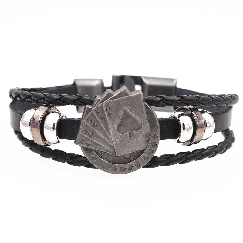 DGW Multilayer Bracelet Men Casual Fashion Braided Leather Bracelets For Women Wood Bead Bracelet Punk Rock Men Jewelry