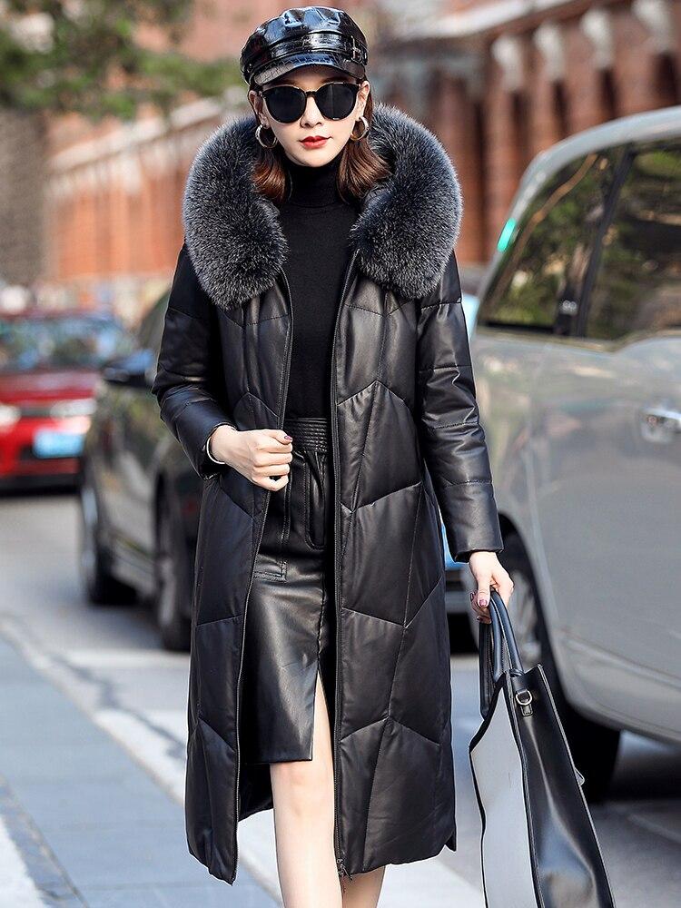 Genuine Leather Jacket Women Long Winter Sheepskin Coat Hooded Women's Down Jackets Korean Fox Fur Collar MFF1901 KJ3690